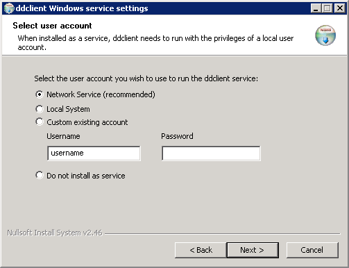 Select windows service user account page