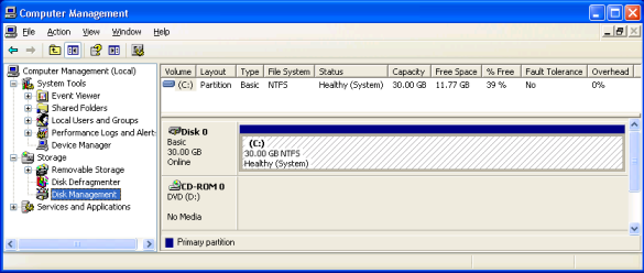 Partition layout on bnedev01, as shown by the Disk Management snap-in