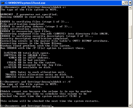 Running chkdsk within the bnedev01 virtual machine