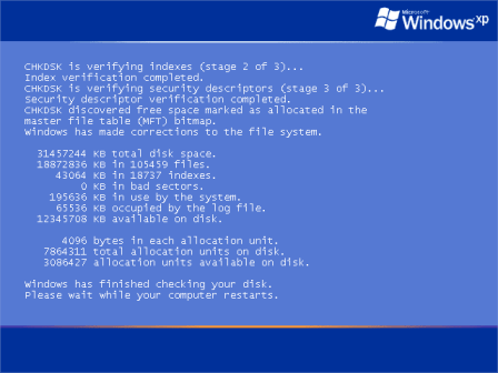 Chkdsk during startup on bnedev01