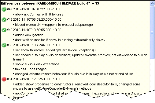 Cropped representation of the differences between dmx-web in TST (build 93) and dmx-web in XPT (build 47)