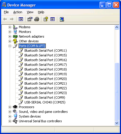 Device manager showing BlueSoleil COM ports and DB9 USB COM ports