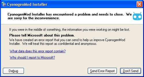 The System.ComponentModel.Win32Exception occuring in CMInstaller.exe [6952].